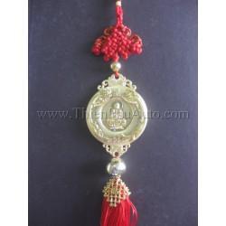 Khánh treo ô tô Phật Bà Quan Thế Âm mạ vàng, rồng phượng chầu 2 bên